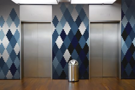 Blue Repeating Contemporary Geometric Mosaic installation by Artaic