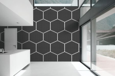 Black Repeating Contemporary Geometric Mosaic installation by Artaic