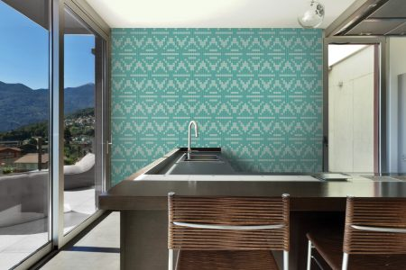Turquoise Repeating Contemporary Geometric Mosaic installation by Artaic