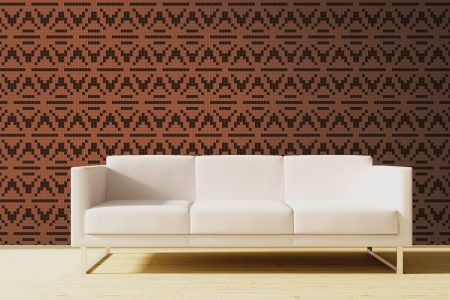 Brown Repeating Contemporary Geometric Mosaic installation by Artaic