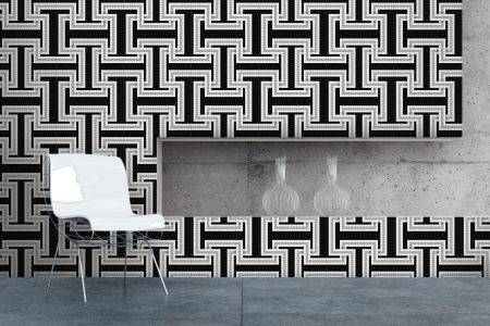 A  Black  Greek Keygeometric Mosaic By Artaic