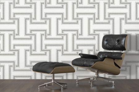 A  Grey  Greek Keygeometric Mosaic By Artaic