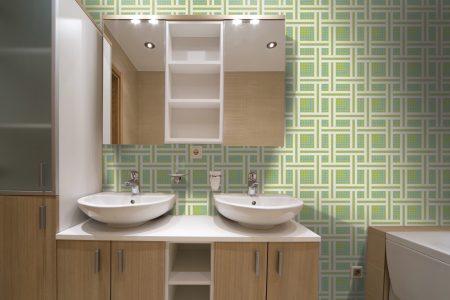 A  Green  Weavegeometric Mosaic By Artaic