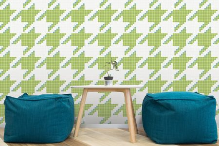 A  Green  Houndstoothgeometric Mosaic By Artaic