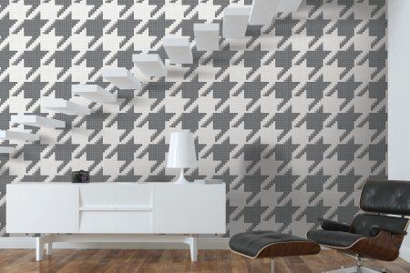 A  Grey  Houndstoothgeometric Mosaic By Artaic