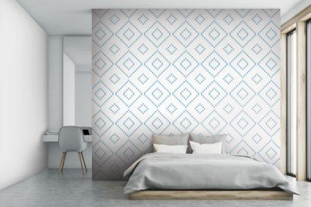 A  White  Repeatinggeometric Mosaic By Artaic