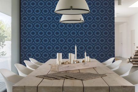 A  Blue  Repeatinggeometric Mosaic By Artaic