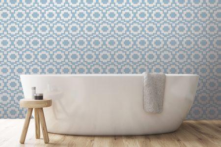 A  Blue  Repeatinggeometric Mosaic By Artaic