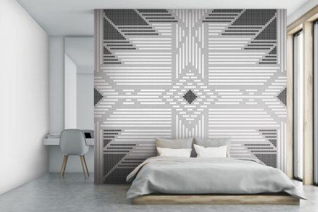 A  Grey  Repeatinggeometric Mosaic By Artaic