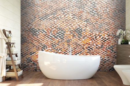 A  Orange  Snake Skintextural Mosaic By Artaic