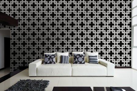 A  Black  Weavegeometric Mosaic By Artaic