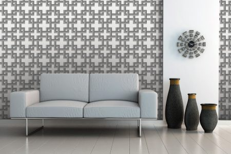 A  Grey  Weavegeometric Mosaic By Artaic
