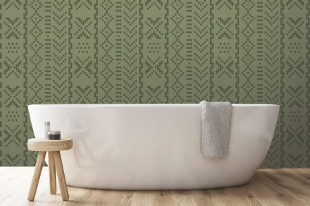 A  Green  Repeatinggeometric Mosaic By Artaic