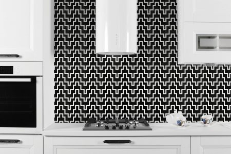 A  Black  Chevrongeometric Mosaic By Artaic