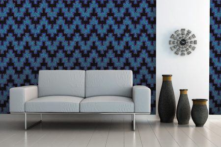 A  Blue  Chevrongeometric Mosaic By Artaic