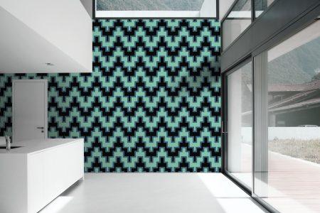 A  Turquoise  Chevrongeometric Mosaic By Artaic