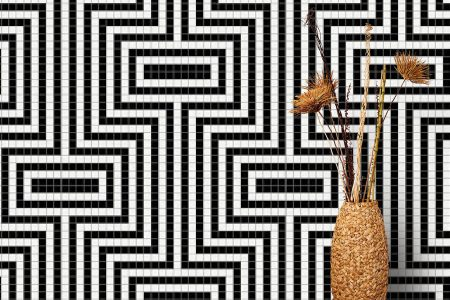 A  Black  Statementgeometric Mosaic By Artaic