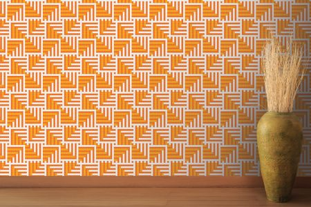 A  Orange  Pixelsgeometric Mosaic By Artaic