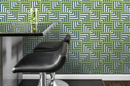 A  Green  Pixelsgeometric Mosaic By Artaic