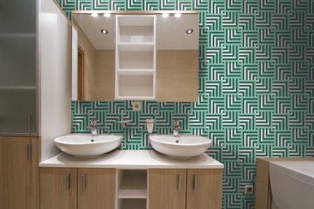 A  Turquoise  Pixelsgeometric Mosaic By Artaic