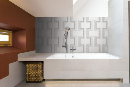 A  Grey  Statementgeometric Mosaic By Artaic