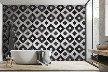 A  Black  Repeatinggeometric Mosaic By Artaic