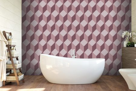 Rubix Amethyst3 (SKU #0421511), from Artaic's Verge collection, seen as a pink bright residential bathroom wall tile mosaic Pattern