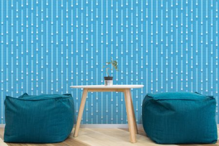 A  Blue  Pixelsgeometric Mosaic By Artaic