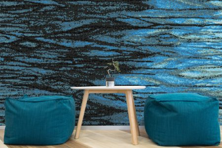 A  Turquoise  Watertextural Mosaic By Artaic
