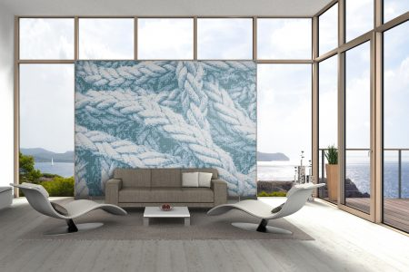 A  Blue  Tangled Ropetextural Mosaic By Artaic