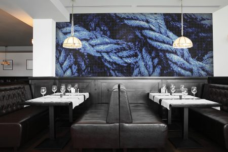 A  Blue  Tangled Ropetextural Mosaic By Artaic