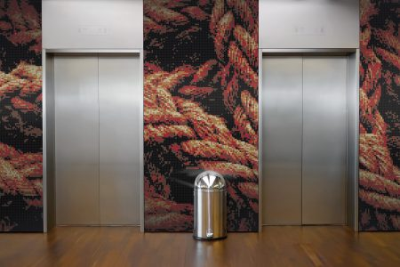A  Red  Tangled Ropetextural Mosaic By Artaic