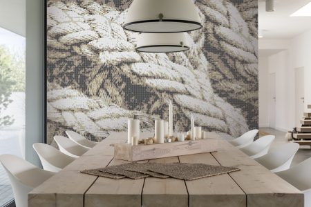 A  Neutral  Tangled Ropetextural Mosaic By Artaic