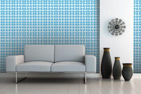 A  Blue  Basket Weavegeometric Mosaic By Artaic