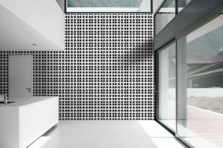 A  Black  Basket Weavegeometric Mosaic By Artaic