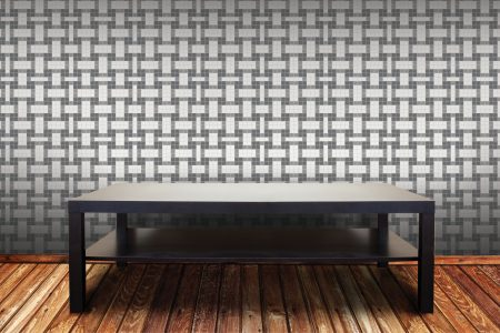 A  Grey  Basket Weavegeometric Mosaic By Artaic